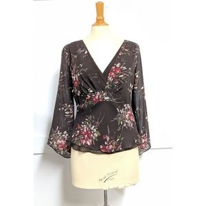 Loft Bell Sleeve Top Brown Floral print size 10